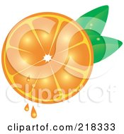 Royalty Free RF Clipart Illustration Of A Juicy Halved Orange With Leaves by Pams Clipart