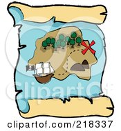 Royalty Free RF Clipart Illustration Of A Ship Near An Island On A Scroll Treasure Map