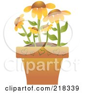 Royalty Free RF Clipart Illustration Of Black Eyed Susan Flowers In A Terra Cotta Pot