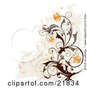 Clipart Picture Illustration Of Orange Flowering Brown Vines Over Faded Plants And Grunge On A White Background