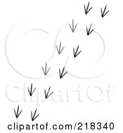 Royalty Free RF Clipart Illustration Of A Black And White Trail Of Bird Tracks by Pams Clipart