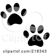 Royalty Free RF Clipart Illustration Of A Pair Of Black And White Dog Tracks by Pams Clipart