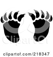 Royalty Free RF Clipart Illustration Of A Pair Of Black And White Raccoon Tracks by Pams Clipart
