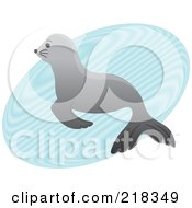 Royalty Free RF Clipart Illustration Of A Cute Gray Baby Seal In A Puddle Of Water by Pams Clipart