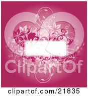 Blank White Text Box Bordered With Red And Pink Flowering Vines Over A Gradient Pink Background