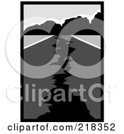 Royalty Free RF Clipart Illustration Of A Grayscale Scene Of A Cracked Road Leading To Mountains After An Earthquake