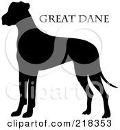 Royalty Free RF Clipart Illustration Of A Black Silhouetted Great Dane And Text by Pams Clipart