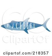Royalty Free RF Clipart Illustration Of A Blue Mackerel Fish With Text by Pams Clipart