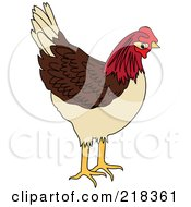 Royalty Free RF Clipart Illustration Of A Brown Tan And Red Chicken by Pams Clipart