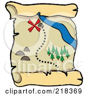 Royalty Free RF Clipart Illustration Of An X Near A Stream On A Pirate Map