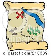 X Near A Stream On A Pirate Map