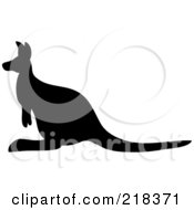 Royalty Free RF Clipart Illustration Of A Black Silhouetted Kangaroo In Profile by Pams Clipart