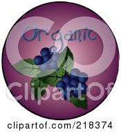 Royalty Free RF Clipart Illustration Of Organic Blueberries On A Purple Circle