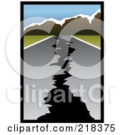 Royalty Free RF Clipart Illustration Of A Cracked Road Leading To Mountains After An Earthquake