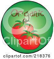 Royalty Free RF Clipart Illustration Of Organic Beefy Tomatoes On A Green Circle