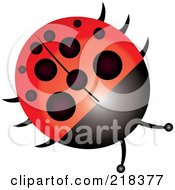 Royalty Free RF Clipart Illustration Of A Shiny Round Ladybug by Pams Clipart