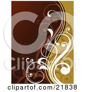 Clipart Picture Illustration Of Curly White And Brown Vines Over An Orange And Brown Background