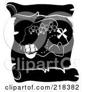 Royalty Free RF Clipart Illustration Of A Black And White Ship Near An Island On A Scroll Treasure Map