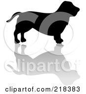 Royalty Free RF Clipart Illustration Of A Black Silhouetted Basset Hound Dog With A Reflection by Pams Clipart