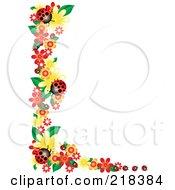 Corner Border Of Flowers And Ladybugs