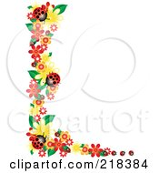 Royalty Free RF Clipart Illustration Of A Corner Border Of Flowers And Ladybugs