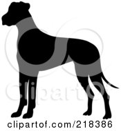 Royalty Free RF Clipart Illustration Of A Black Silhouetted Great Dane Dog In Profile by Pams Clipart #COLLC218386-0007