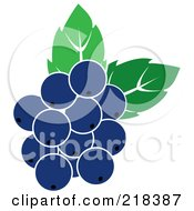 Royalty Free RF Clipart Illustration Of Blueberries With Leaves