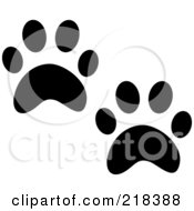 Royalty Free RF Clipart Illustration Of A Pair Of Black And White Cat Tracks by Pams Clipart