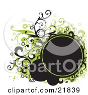 Clipart Picture Illustration Of A Blank Black Text Circle With Green And Black Circles Splatters And Vines On A White Background