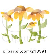 Royalty Free RF Clipart Illustration Of A Garden Of Black Eyed Susan Flowers