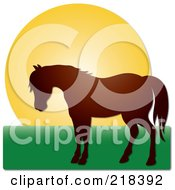 Royalty Free RF Clipart Illustration Of A Brown Silhouetted Horse Against A Sunset