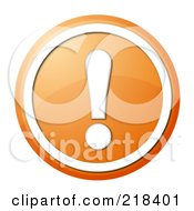 Royalty Free RF Clipart Illustration Of A Round Orange And White Exclamation Point App Button by oboy
