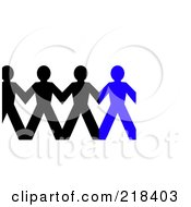 Royalty Free RF Clipart Illustration Of A Row Of Black And Blue Paper People Holding Hands