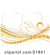 Clipart Picture Illustration Of A Curling Delicate Orange Vine With Circles Over Orange Green And White Waves