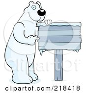 Royalty Free RF Clipart Illustration Of A Big Polar Bear Standing And Pointing To A Frozen Wood Sign by Cory Thoman
