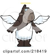 Royalty Free RF Clipart Illustration Of An Angel Ape With A Halo by Cory Thoman