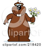 Royalty Free RF Clipart Illustration Of A Big Beaver Standing With Flowers In Hand by Cory Thoman