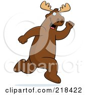 Royalty Free RF Clipart Illustration Of A Big Moose Running Upright