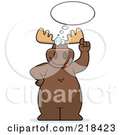Royalty Free RF Clipart Illustration Of A Big Moose With An Idea Cloud