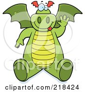 Royalty Free RF Clipart Illustration Of A Big Green Dragon Sitting And Waving