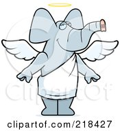 Royalty Free RF Clipart Illustration Of An Angel Elephant With A Halo