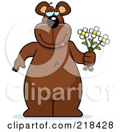 Royalty Free RF Clipart Illustration Of A Big Bear Standing With Flowers In Hand