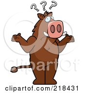Royalty Free RF Clipart Illustration Of A Confused Beaver Shrugging Under Question Marks