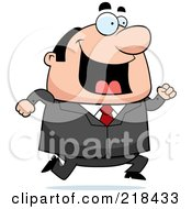 Royalty Free RF Clipart Illustration Of A Happy Plump Businessman Running by Cory Thoman