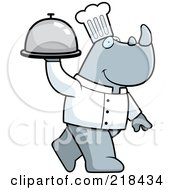 Royalty Free RF Clipart Illustration Of A Chef Rino Carrying A Covered Food Platter