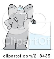 Royalty Free RF Clipart Illustration Of A Big Gray Elephant Leaning Against A Big Sign Board by Cory Thoman