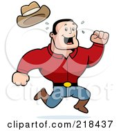 Royalty Free RF Clipart Illustration Of A Strong Sweaty Cowboy Running by Cory Thoman