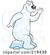 Big Polar Bear Sitting On Ice And Waving by Cory Thoman