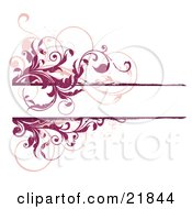 Clipart Picture Illustration Of A White Text Space Bordered With Leafy Scrolling Red And Pink Vines Over A White Background