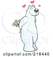 Royalty Free RF Clipart Illustration Of An Infatuated Polar Bear Holding Flowers Behind His Back by Cory Thoman